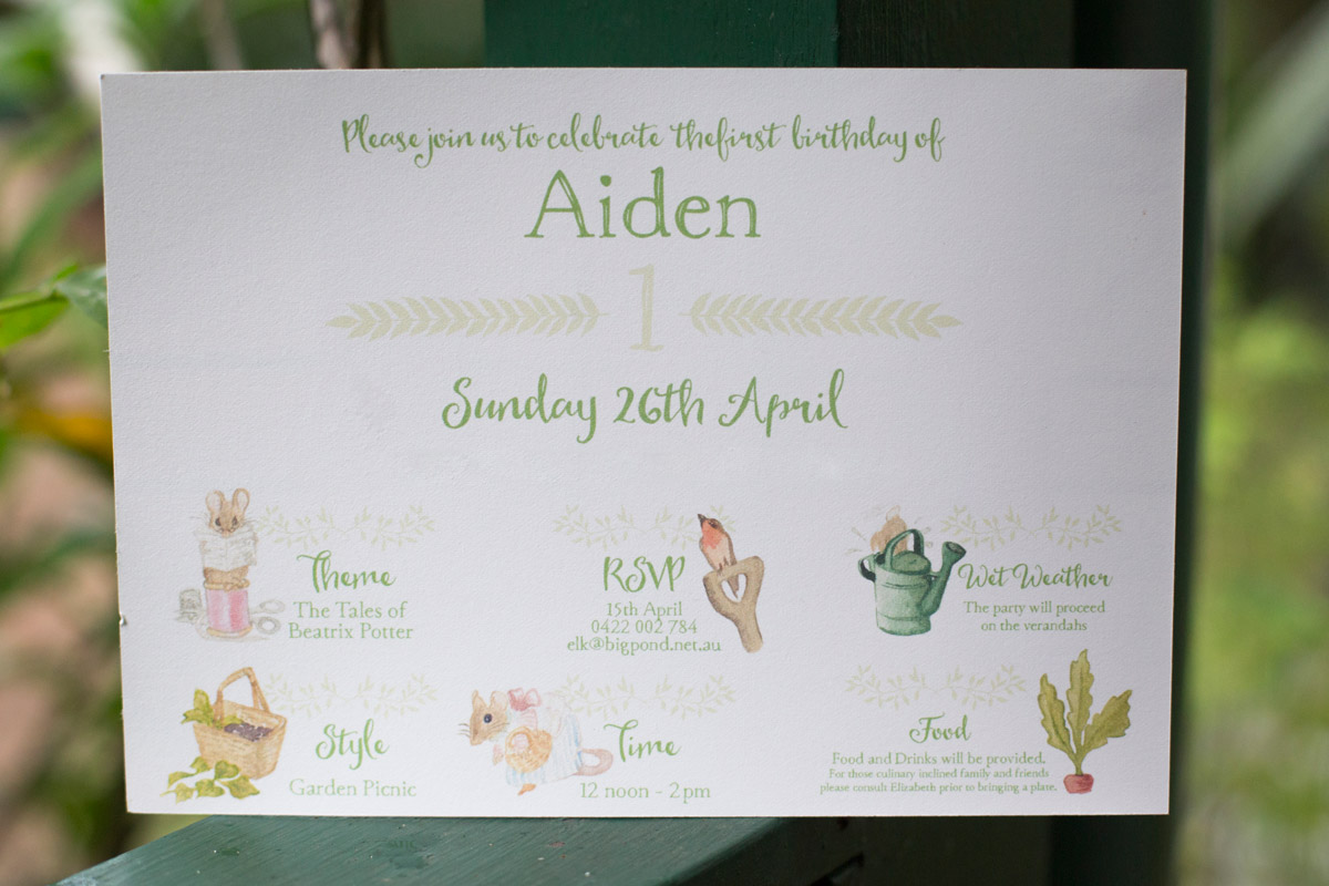 Reverse side of Aiden's Beatrix Potter themed party Invitation