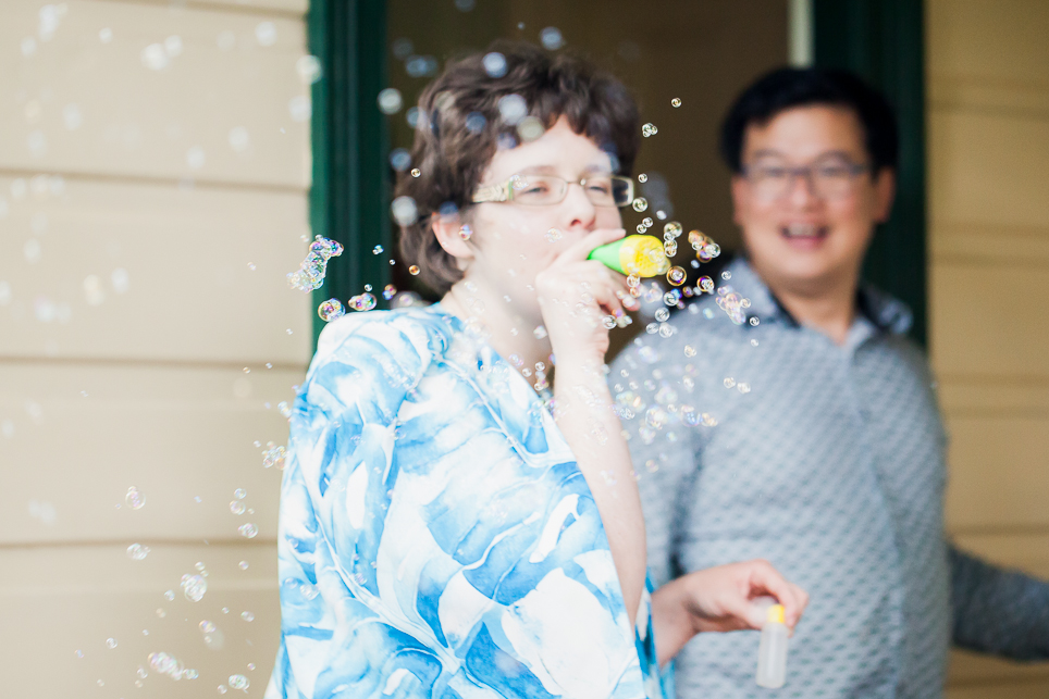 Having fun with a bubble blower that made lots of tiny bubbles.