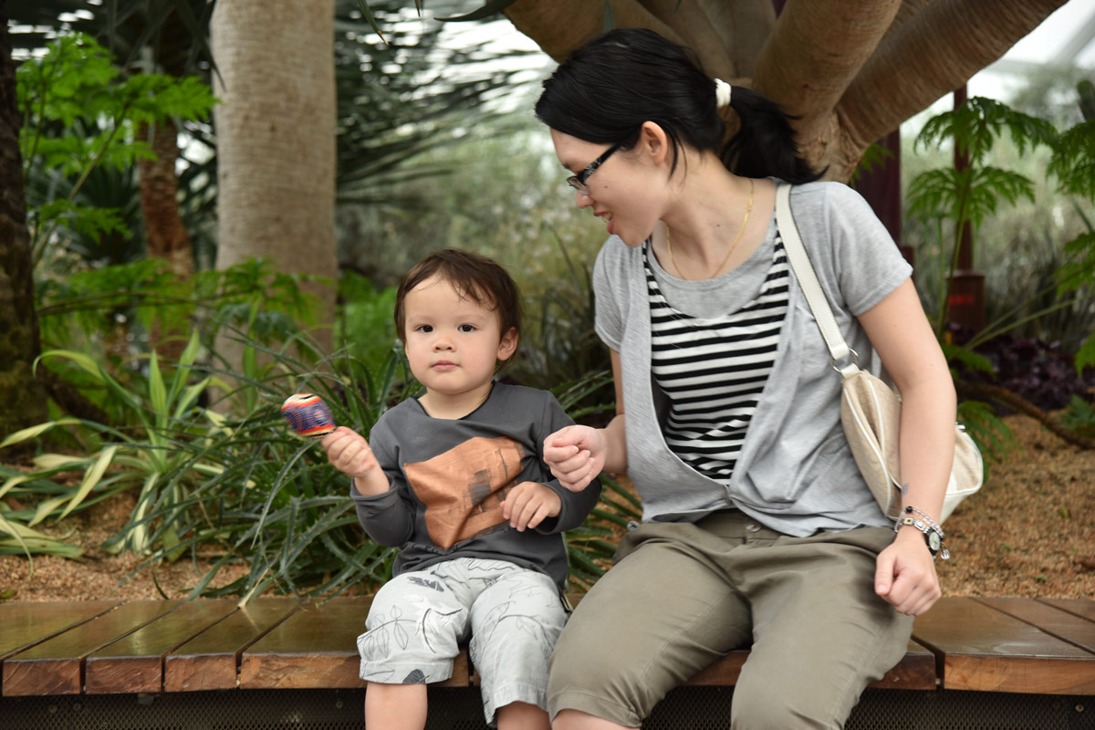All the kids received little maracas on entering the flower dome and Aiden loved his. He also enjoyed spending time with his Auntie.