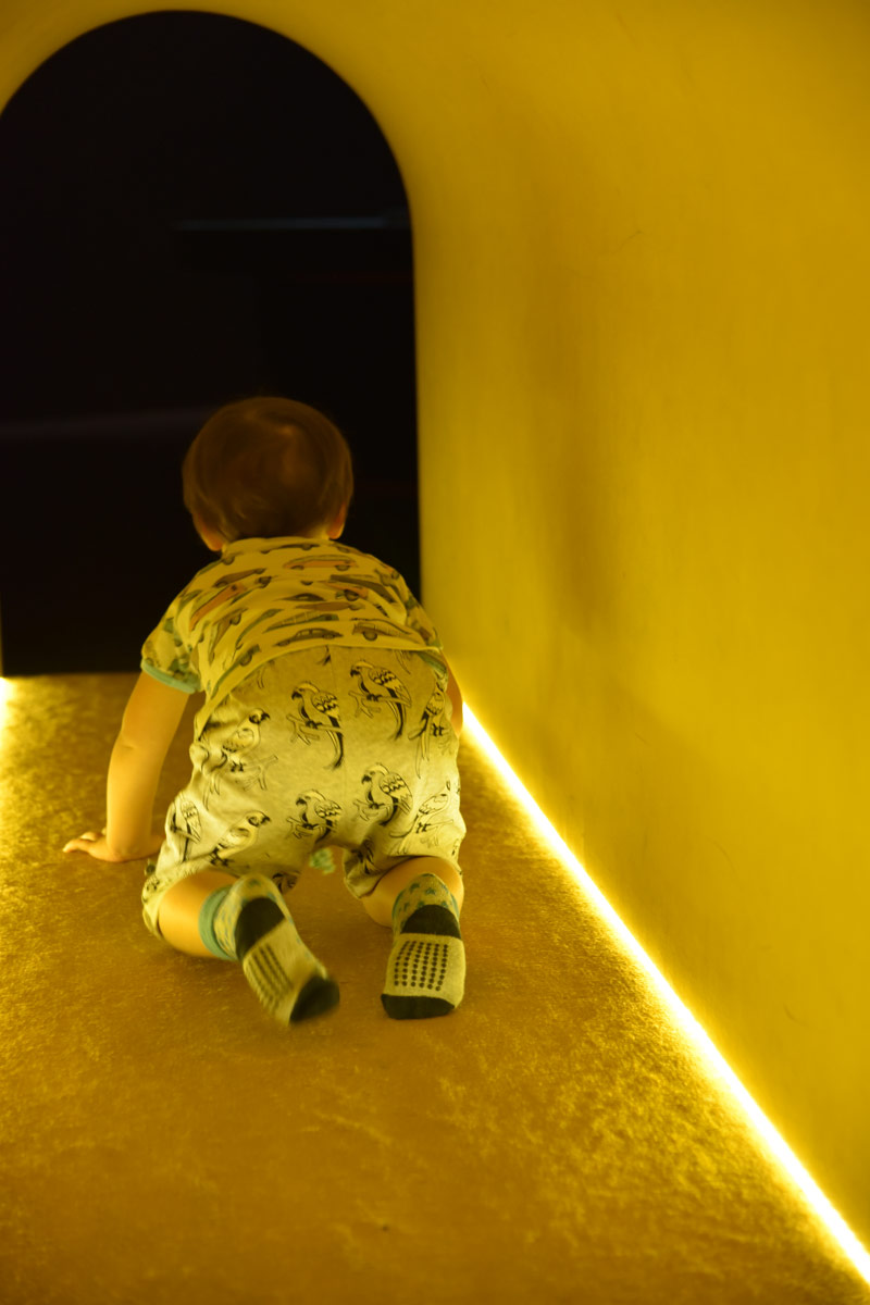 The exhibition is a kid's playground with crawling tunnels and slippery dips to enjoy.