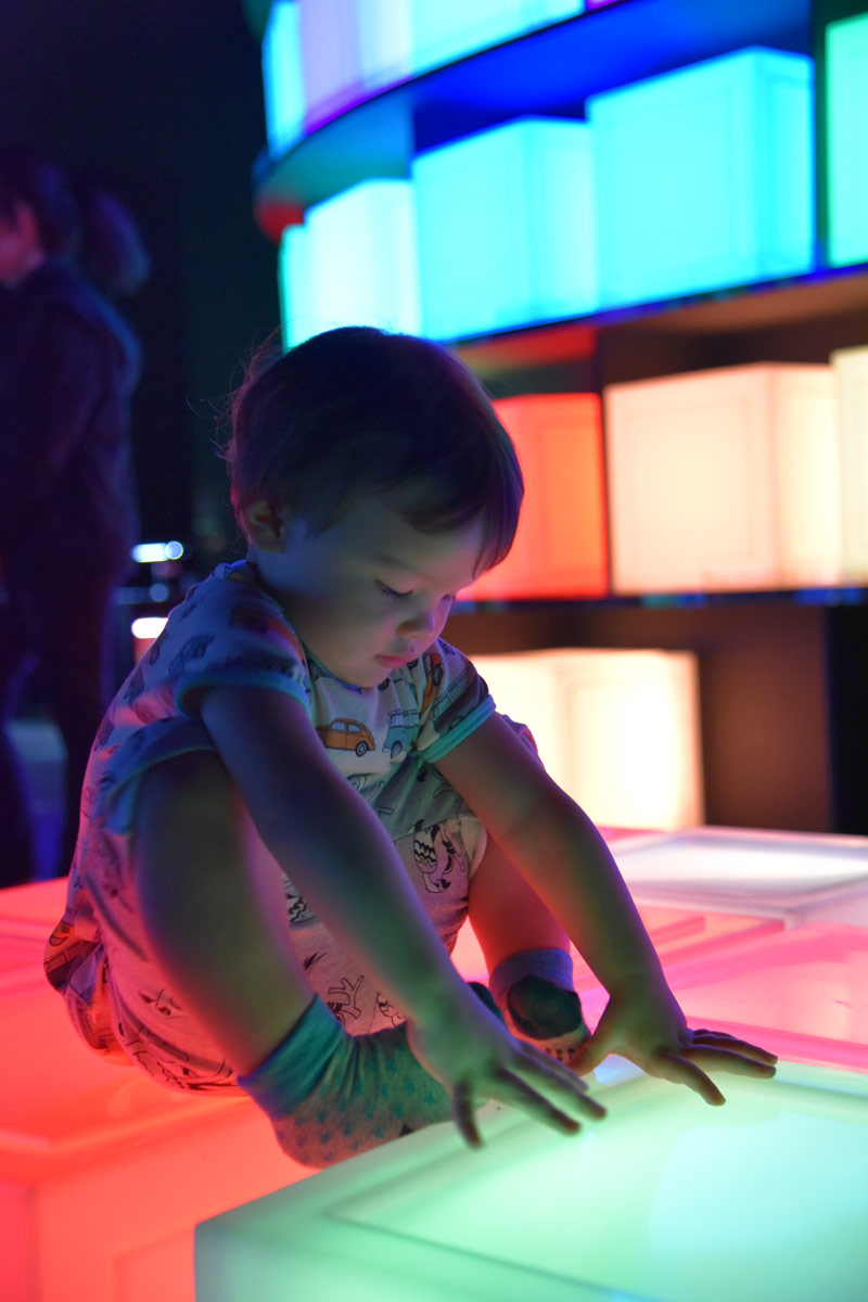 Aiden loved the coloured light blocks you could move around and sit on.