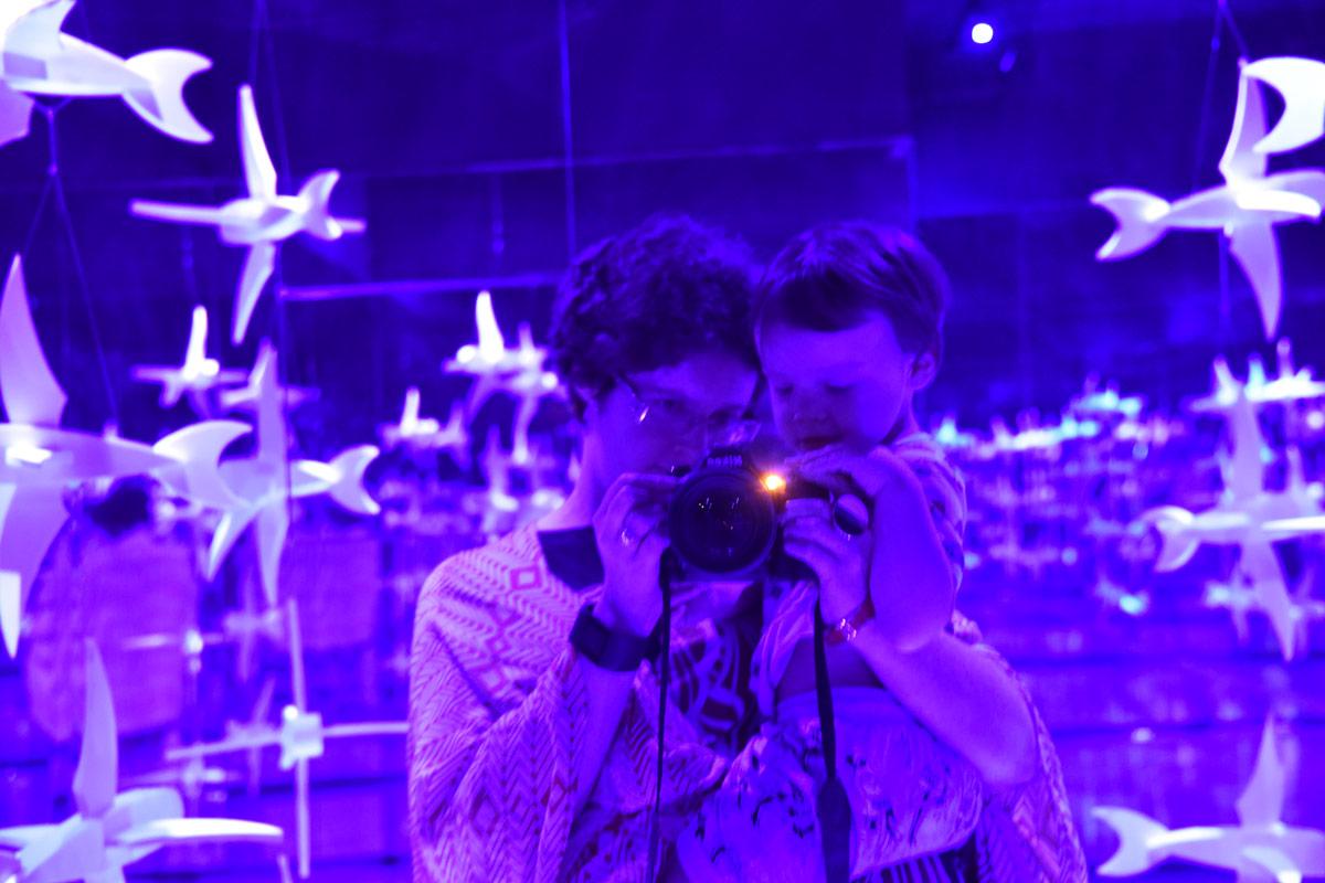Mirrored Escher origami birds and a little selfie/camera lesson fun.
