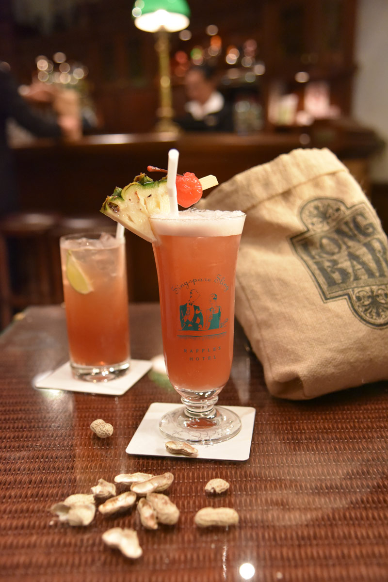 Our first stop was to Raffles Long Bar to enjoy the traditional Singapore Sling which was nice but we loved the original 1915 Gin Sling even better! The peanut strewn floor was a shock at first but we soon got into the spirit of the place chowing down on peanuts too.