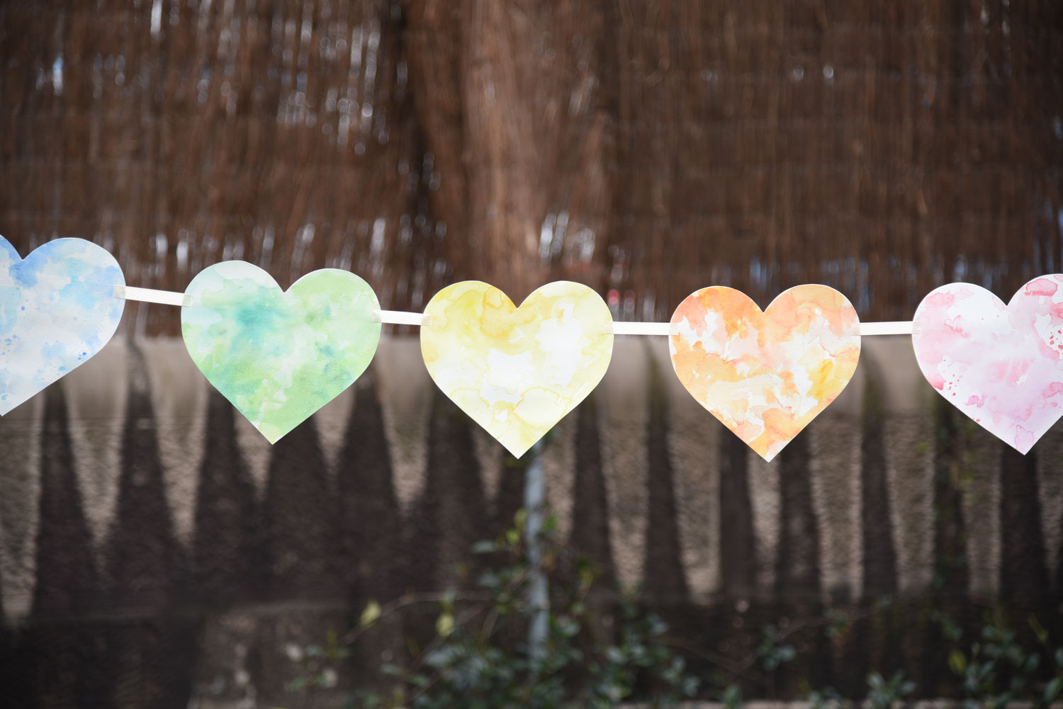 Photo and watercolour heart bunting by ELK Prints.