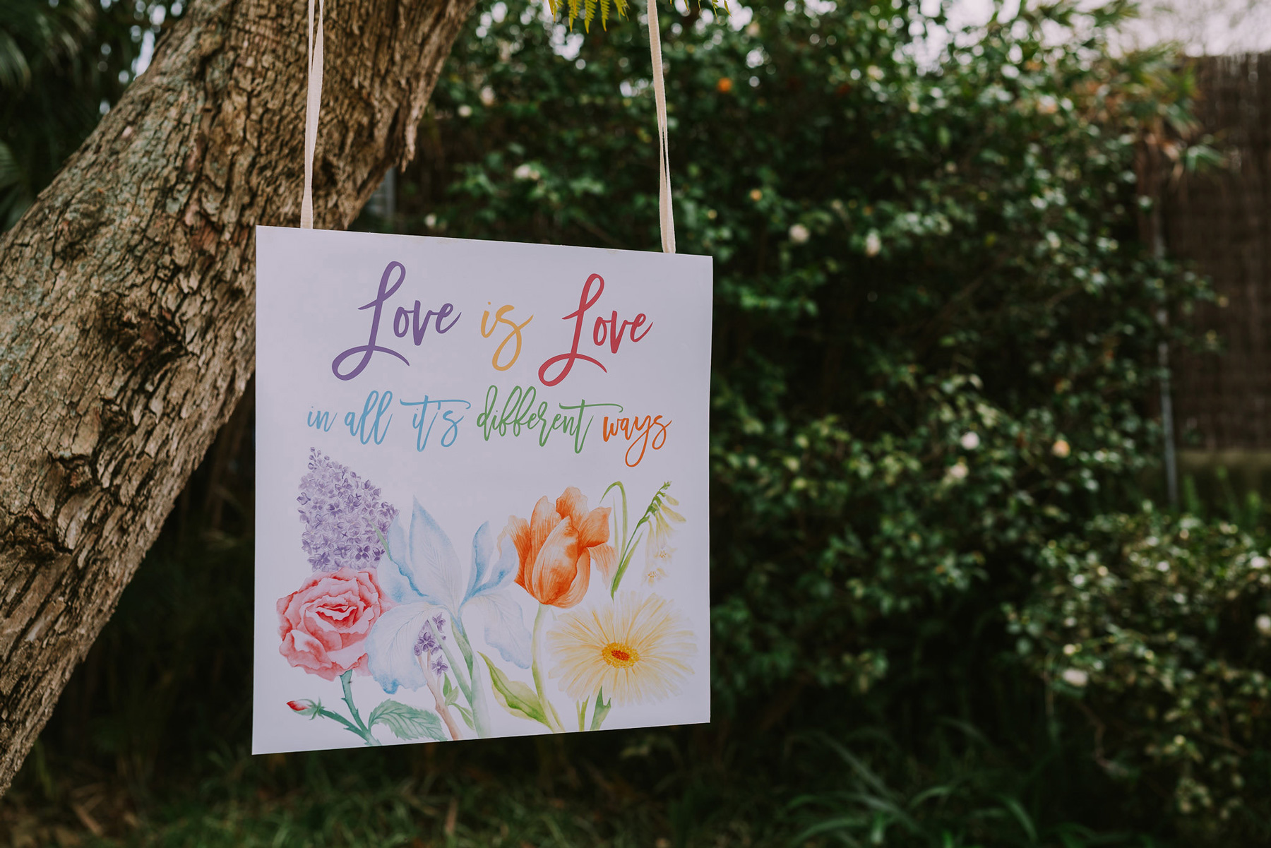 Love is Love in all it's different ways, custom illustrated sign by ELK Prints. Photo by Angus Porter Photography