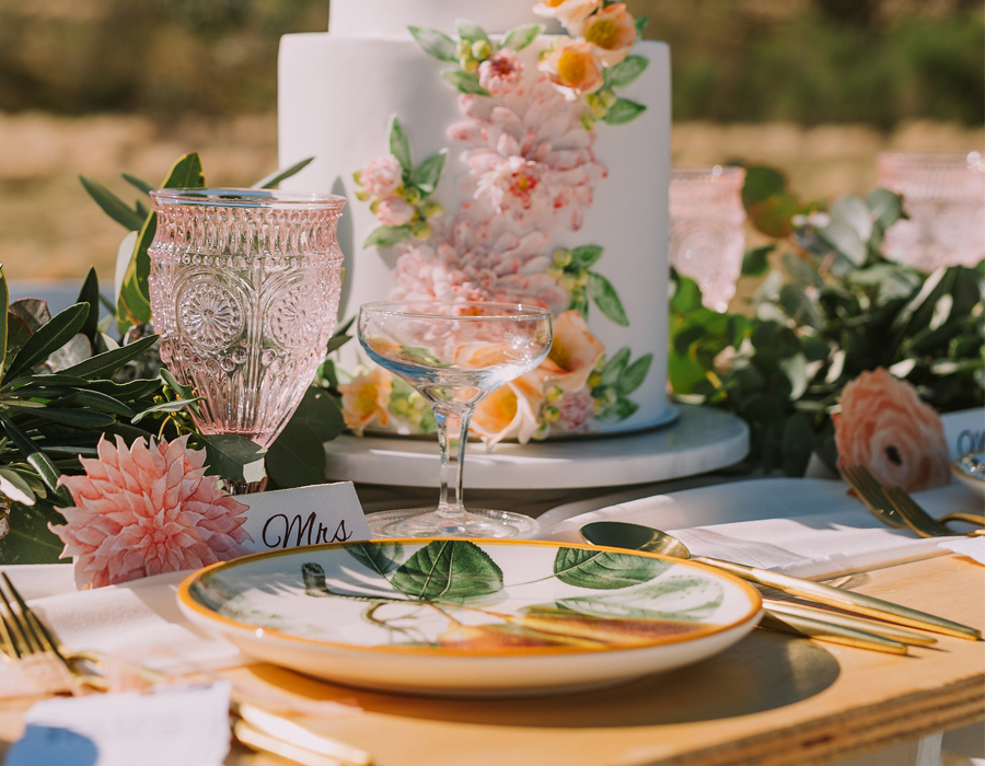 Hand-painted watercolour placecards set out on the wedding table for the bride and groom. Photography by Angus Porter Photography, Styling by ELK Prints.