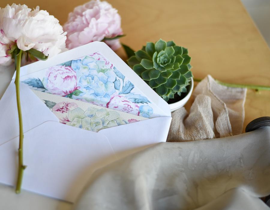 Invitation envelope liner design by ELK Prints of succulents and peonies.