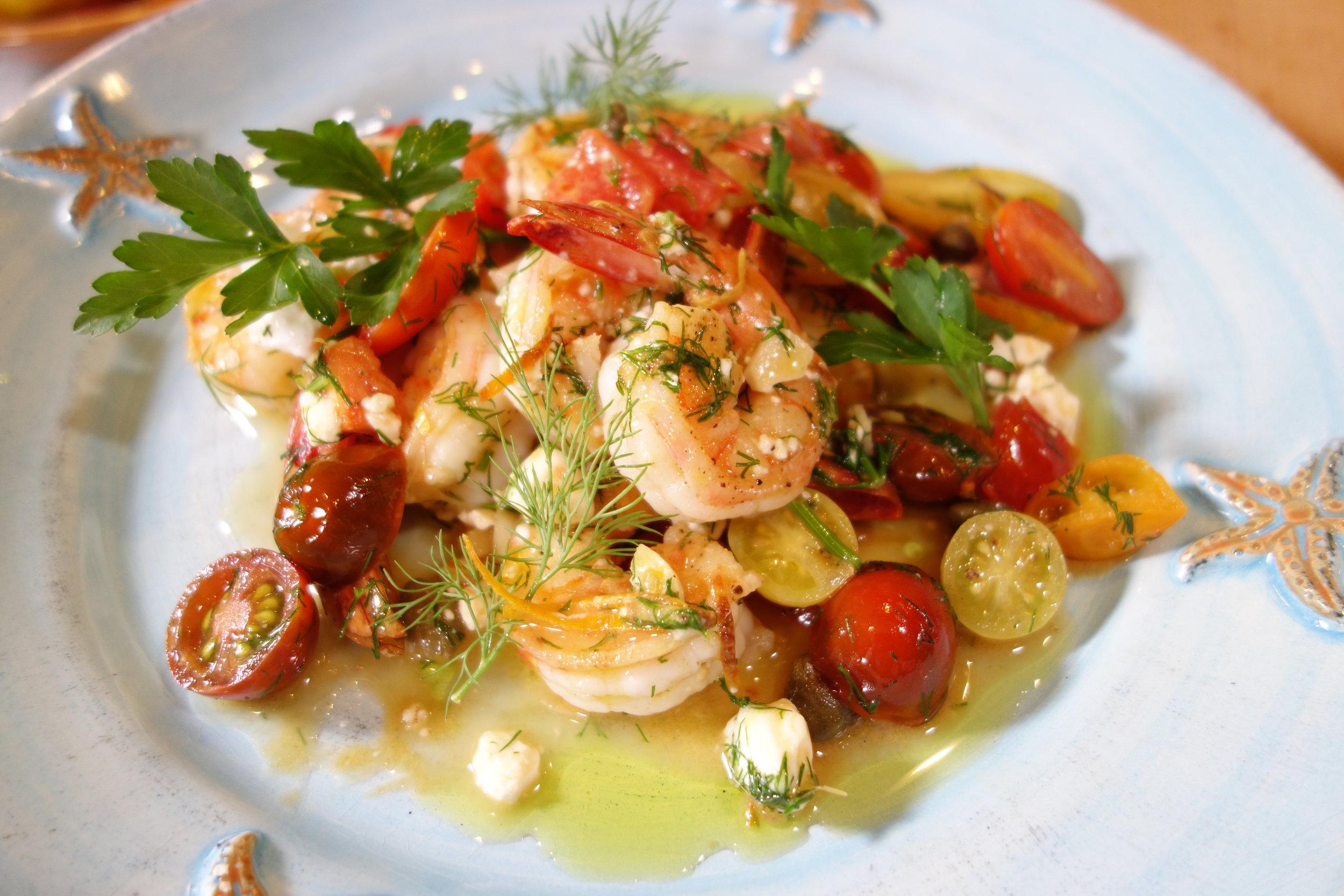 Garlic shrimp Greek style