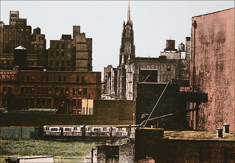 """The Hub    Hand-colored photo etching  12"""" x 17"""""""