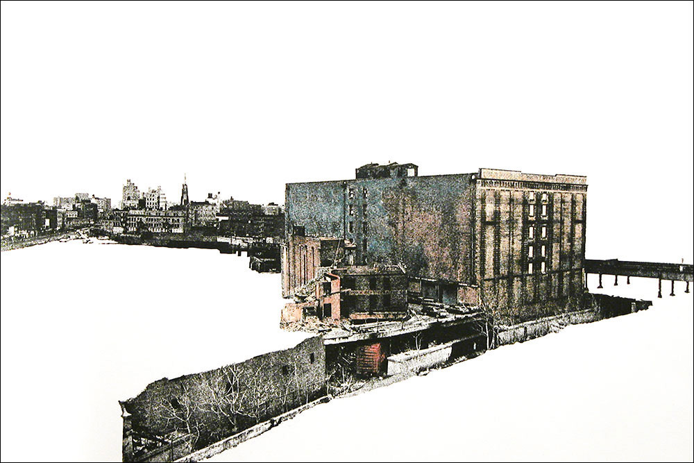 """Bronx Refrigerating Company    Hand-colored photo etching  15"""" x 22 1/2"""""""