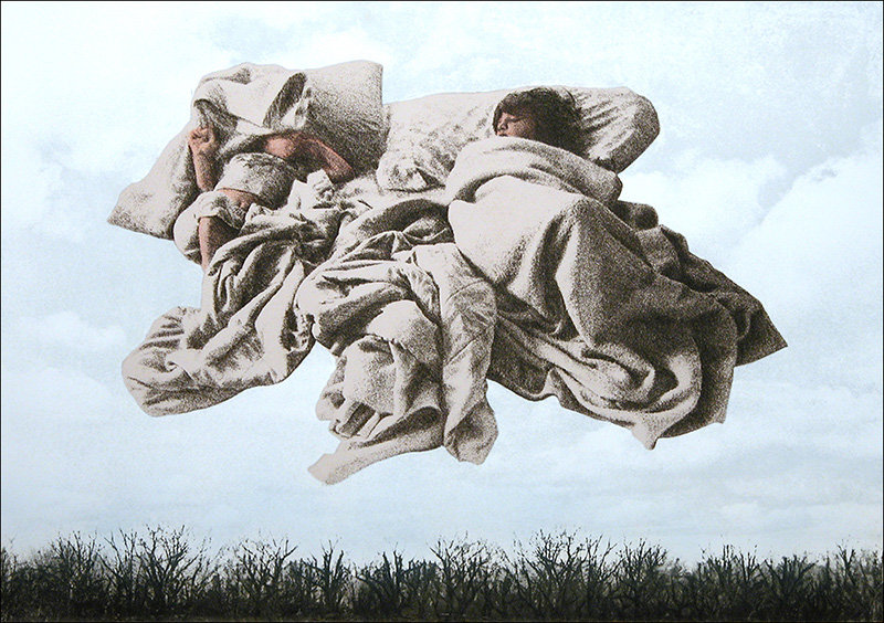 """Angels While They Sleep I    Color photo etching and drypoint   15 1/2"""" x 22"""""""