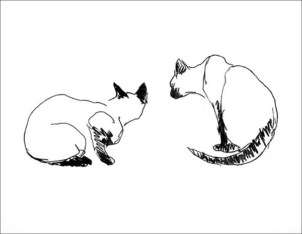 """Cats    Etching  10"""" x 13 1/2"""""""