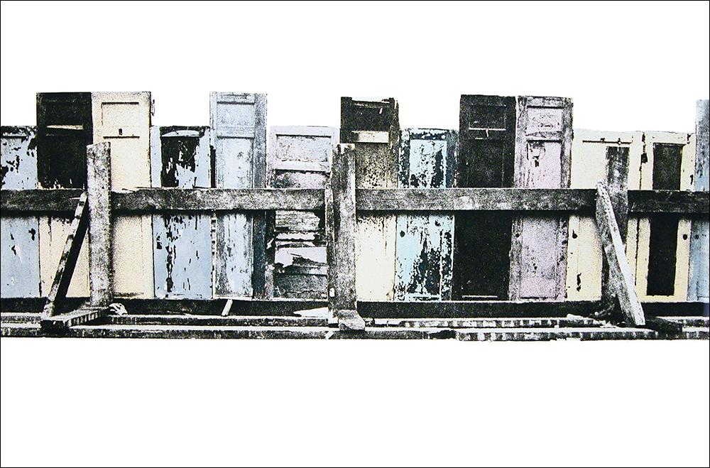 "Doors II    Hand-colored photo etching  14 1/2"" x 22"""