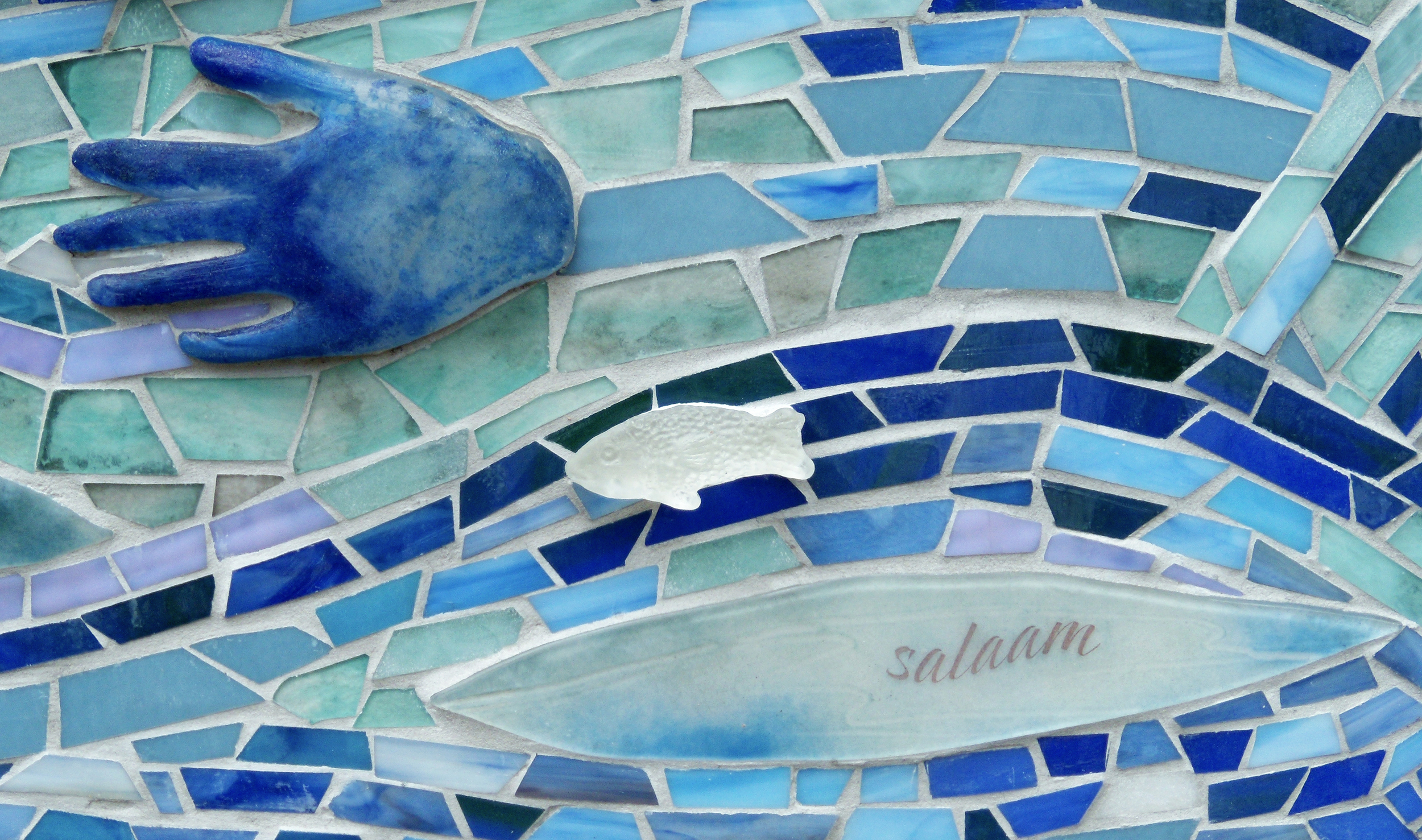 Lynn Takata; mosaic river with cast and fused glass
