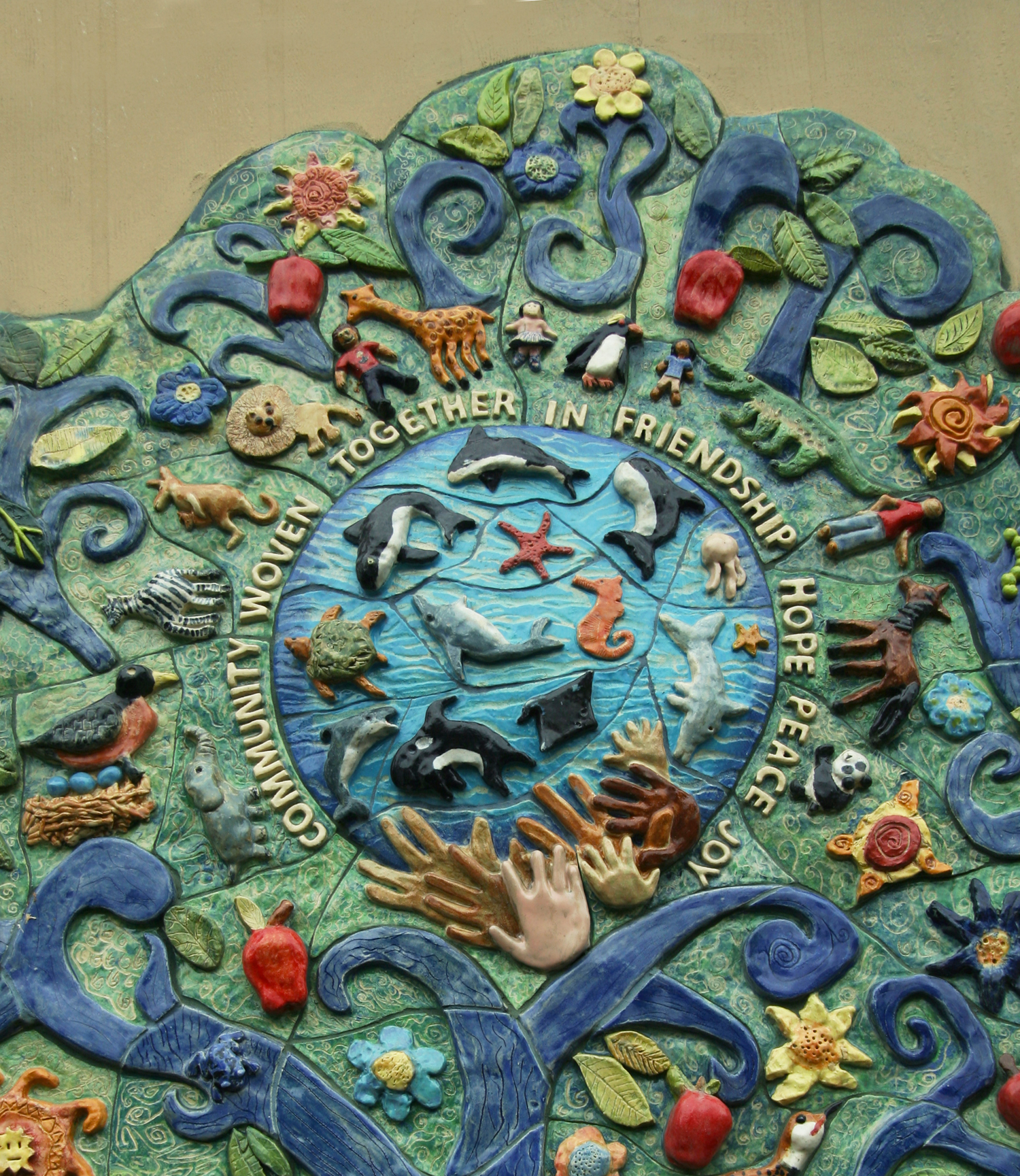 """""""Community Woven Together"""", sculptural tree of life by children with artist Lynn Takata, Salem, Oregon"""