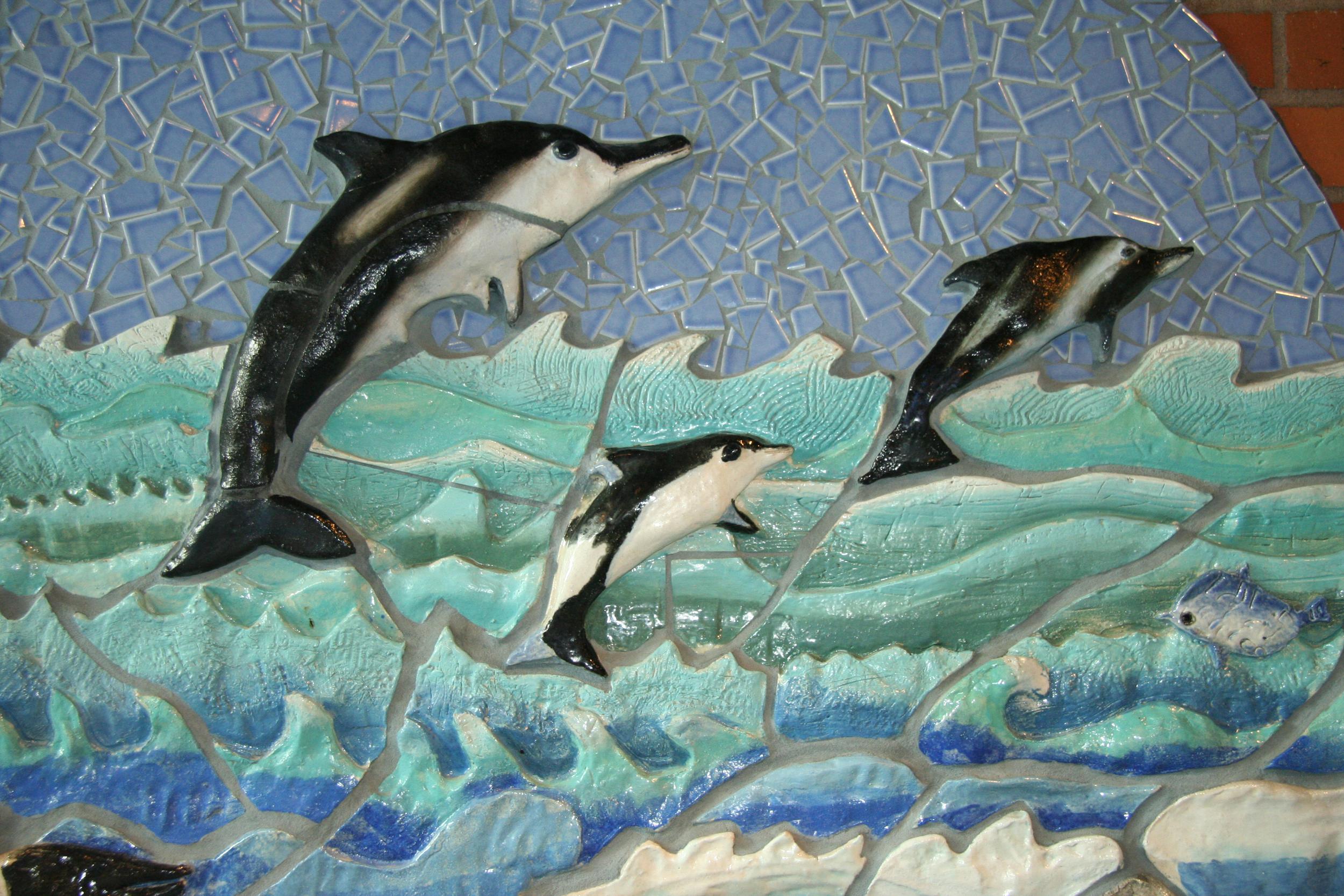 Sculptural relief with children and artist Lynn Takata, Jackson Elementary School, Hillsboro, Oregon