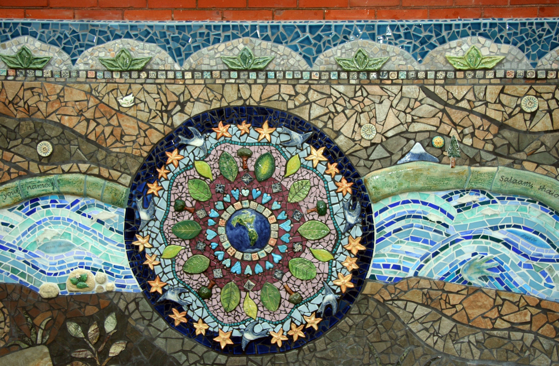 Mandala and glass mosaic river