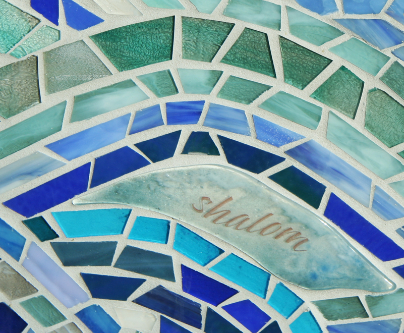 Fused glass detail with glass mosaic