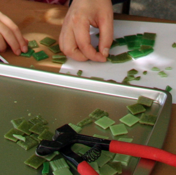 Mosaic process with glass tile