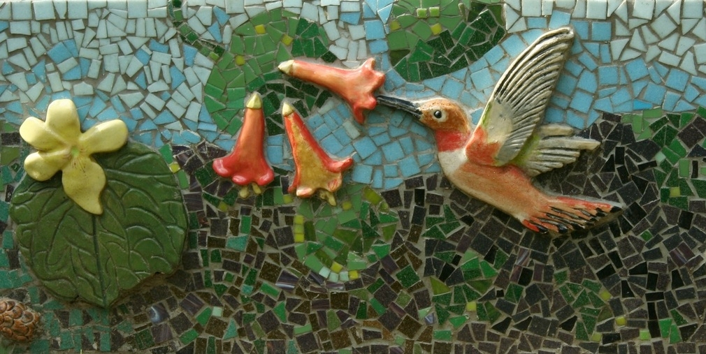 honeysuckle and rufous sided hummingbird mosaic