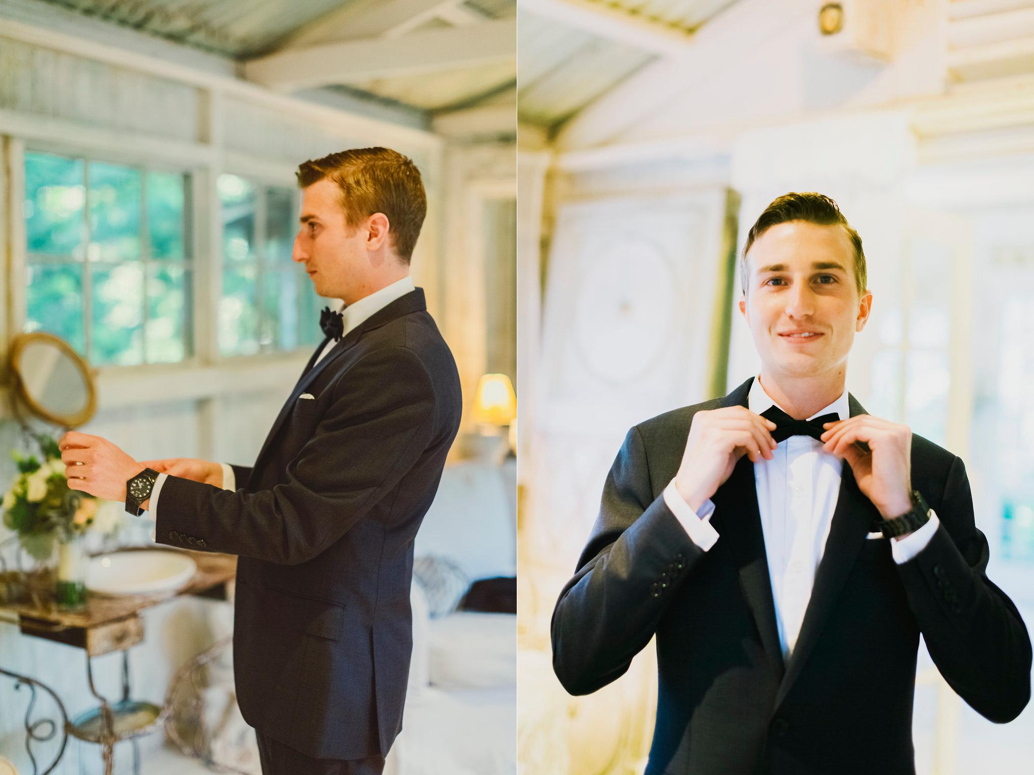 groom getting ready at stunning haiku mill maui hawaii