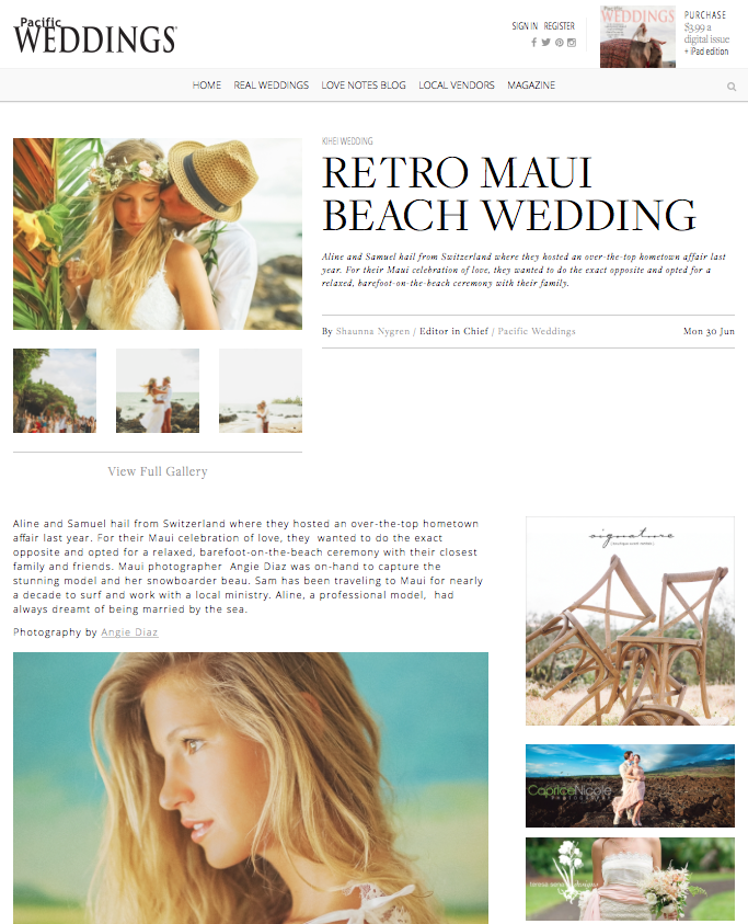 Published in Pacific Weddings