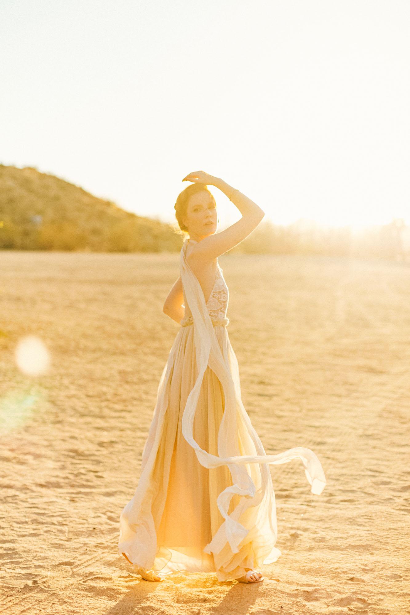 Stunning golden light Bride desert California destination wedding photographer
