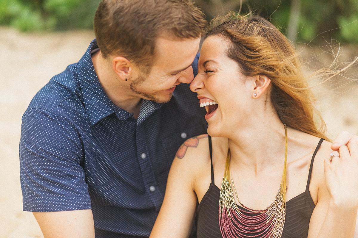 honeymooners smiling and having a blast