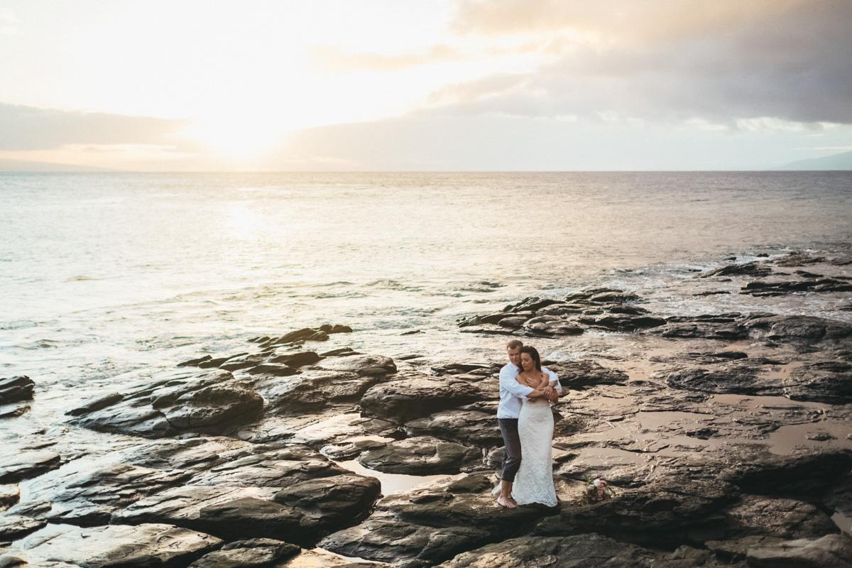 amazing merrimans kapalua wedding sunset view in lava rocks.jpg