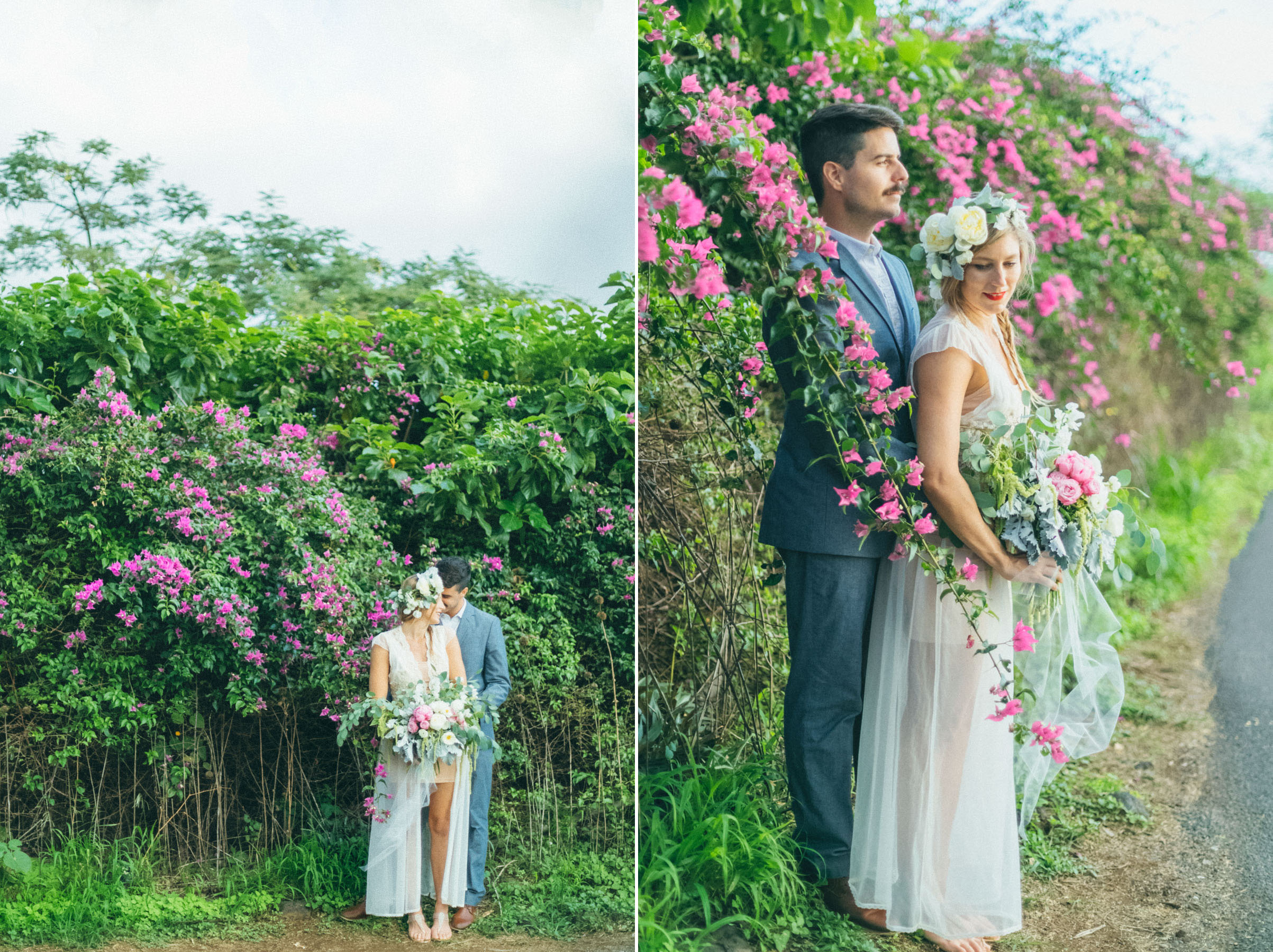 lovely maui love beach wedding session, lovely pink floral design