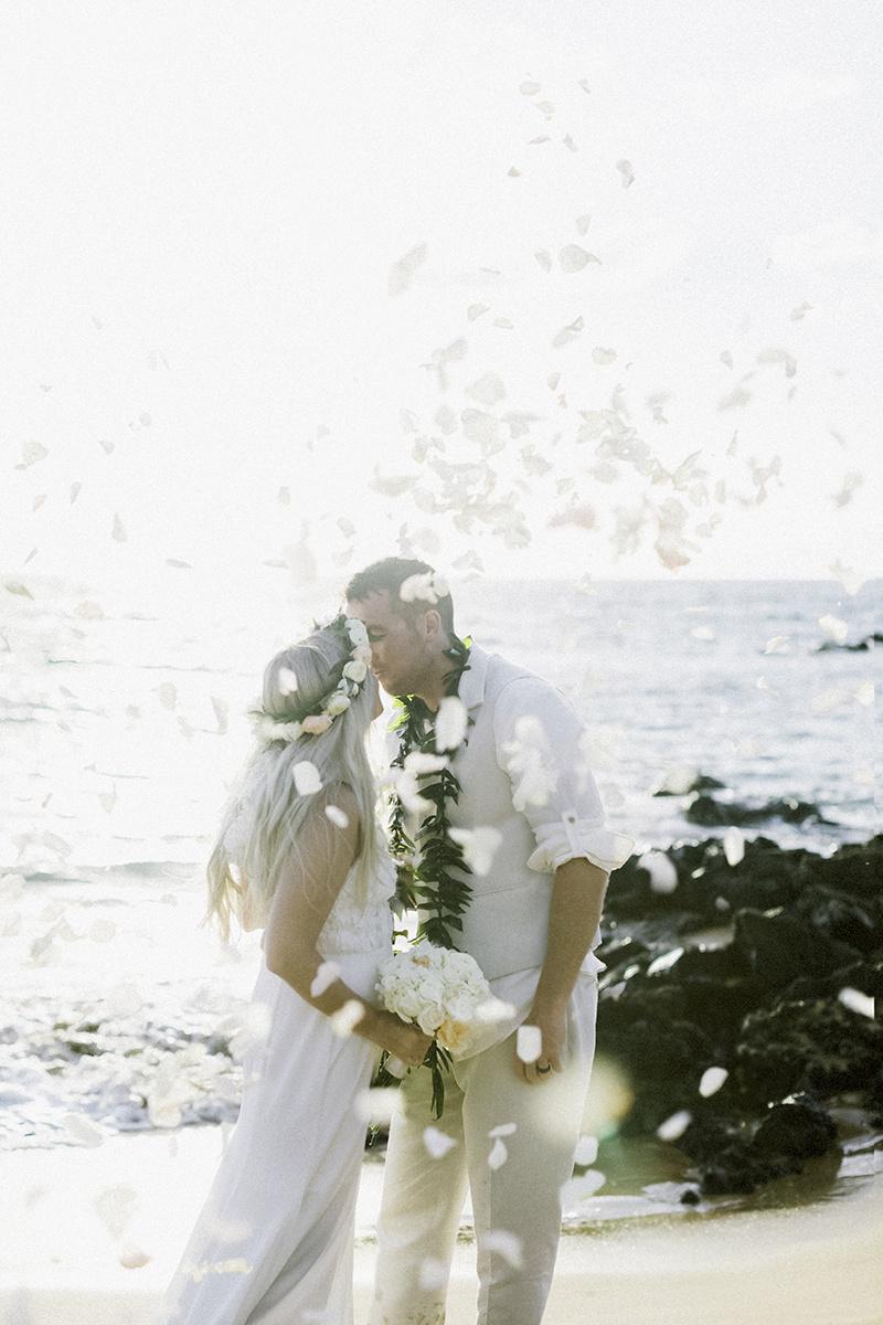 beautiful beach adventurous film romantic elopement in Maui Hawaii