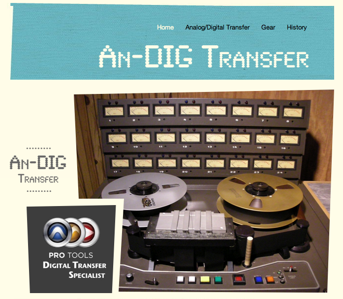 Analog to digital transfers archiving and re-mixing analog tape.