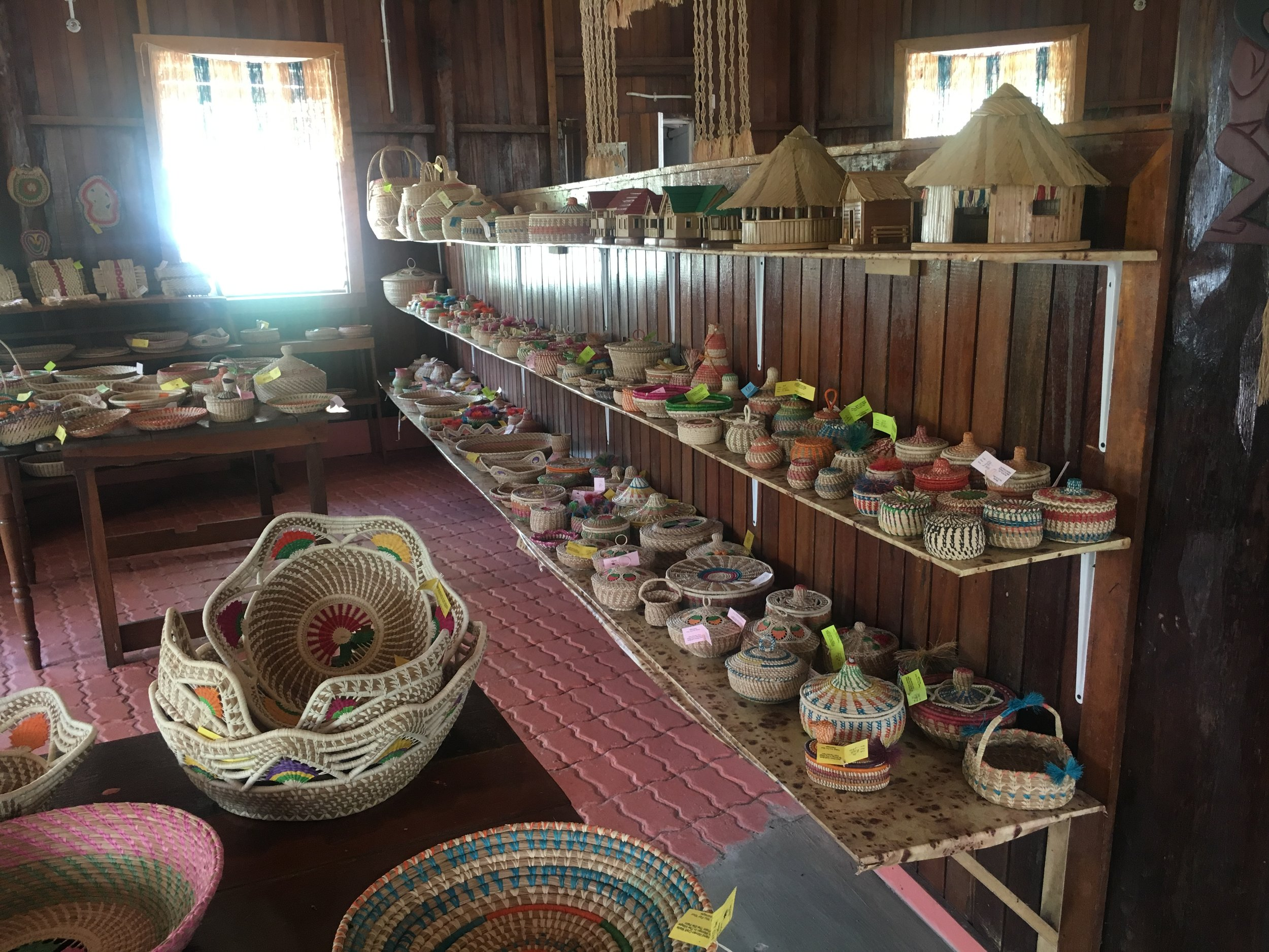 Handmade crafts from Arawak Amerindians are on display around the city and surrounding areas