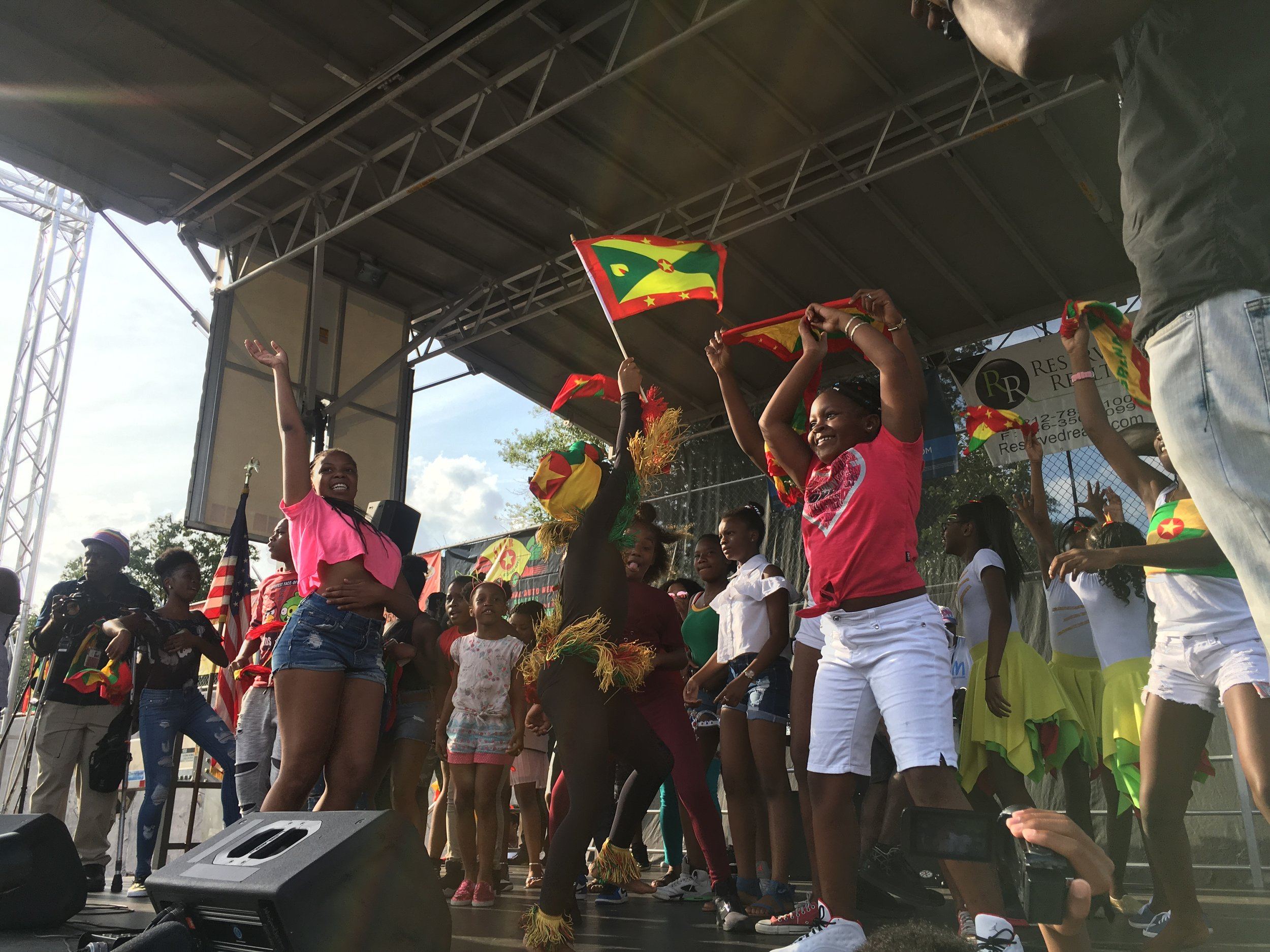 Kids on stage at Grenada Day