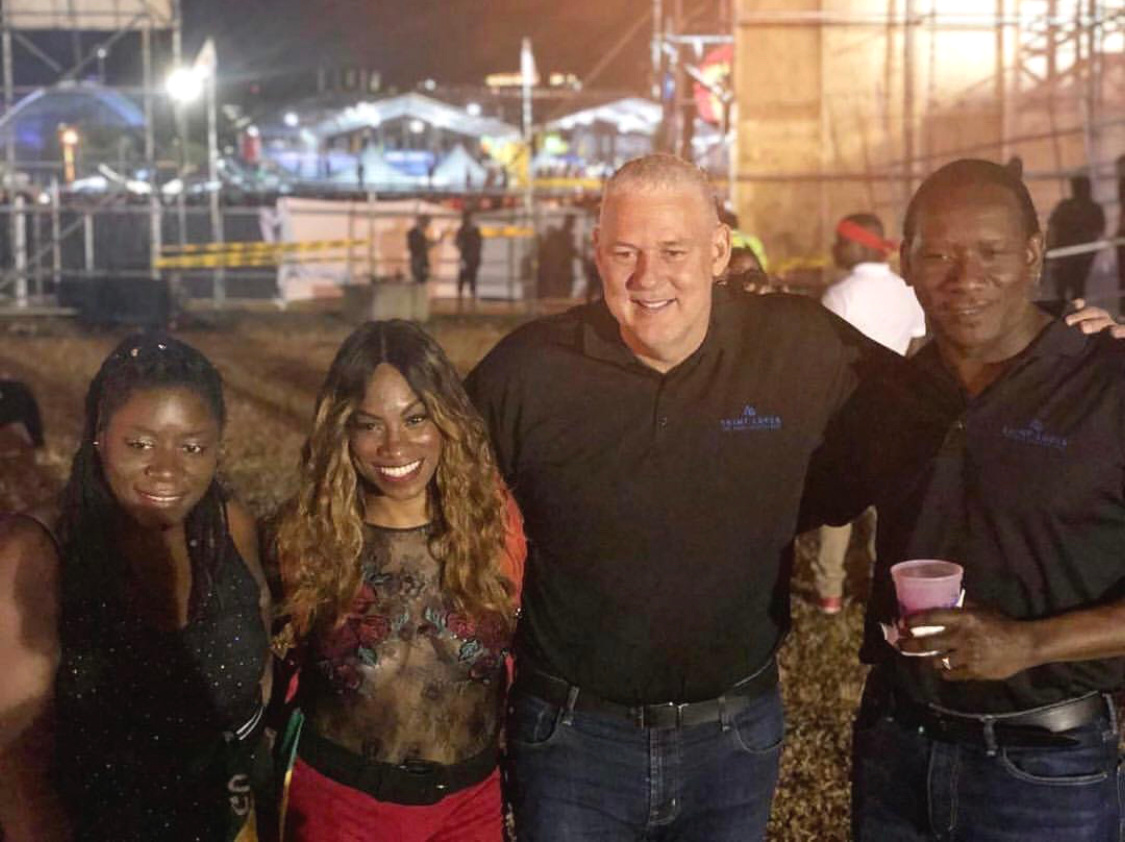 DysChick, SocaSaySo, St. Lucia's Prime Minister Allen Chastanet, and Minister of Social Justice Leonard Montoute