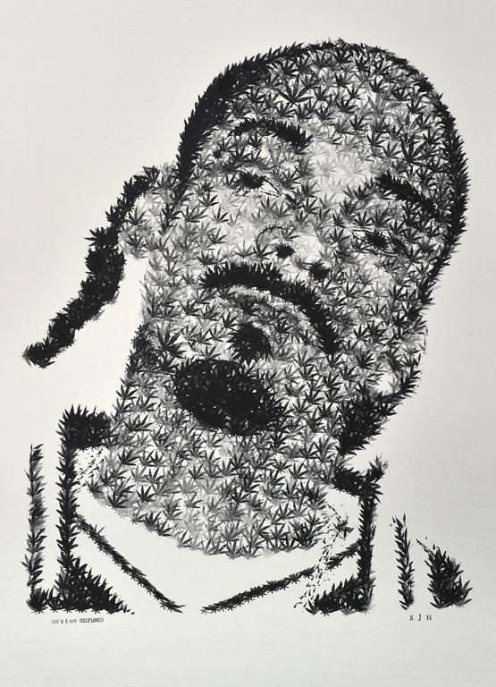 """Drug Sniffing Dogg //// 20"""" x 30""""  //// ink on illustration board"""