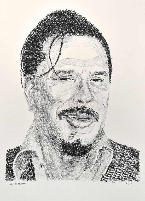 """Mickey Rourke After //// 20"""" x 30""""  //// ink on illustration board"""