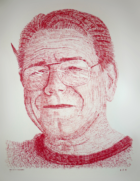 """This portrait of my father was created using the rubber stamps that he used to grade his college student's papers //// 20"""" x 30""""  //// ink on illustration board"""