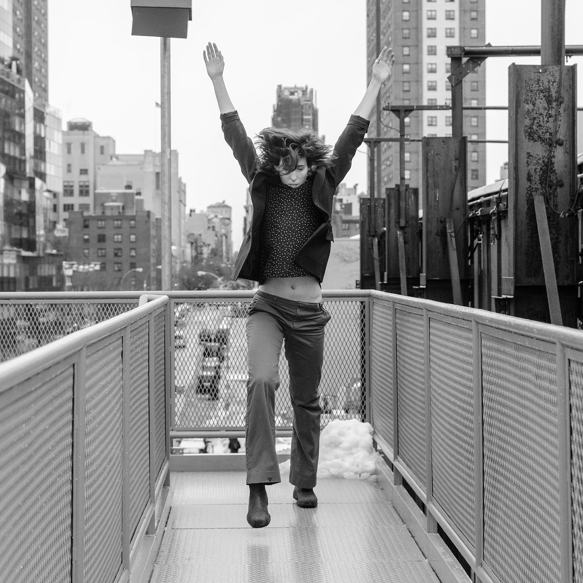 'HIGH LIFE'1st edition 120 X 120cm BRUSHED ALUMINUM, B&W, 2  013, the Hig  h Line, NEW YORK   CITY, USA, dancer: Julia Burrer