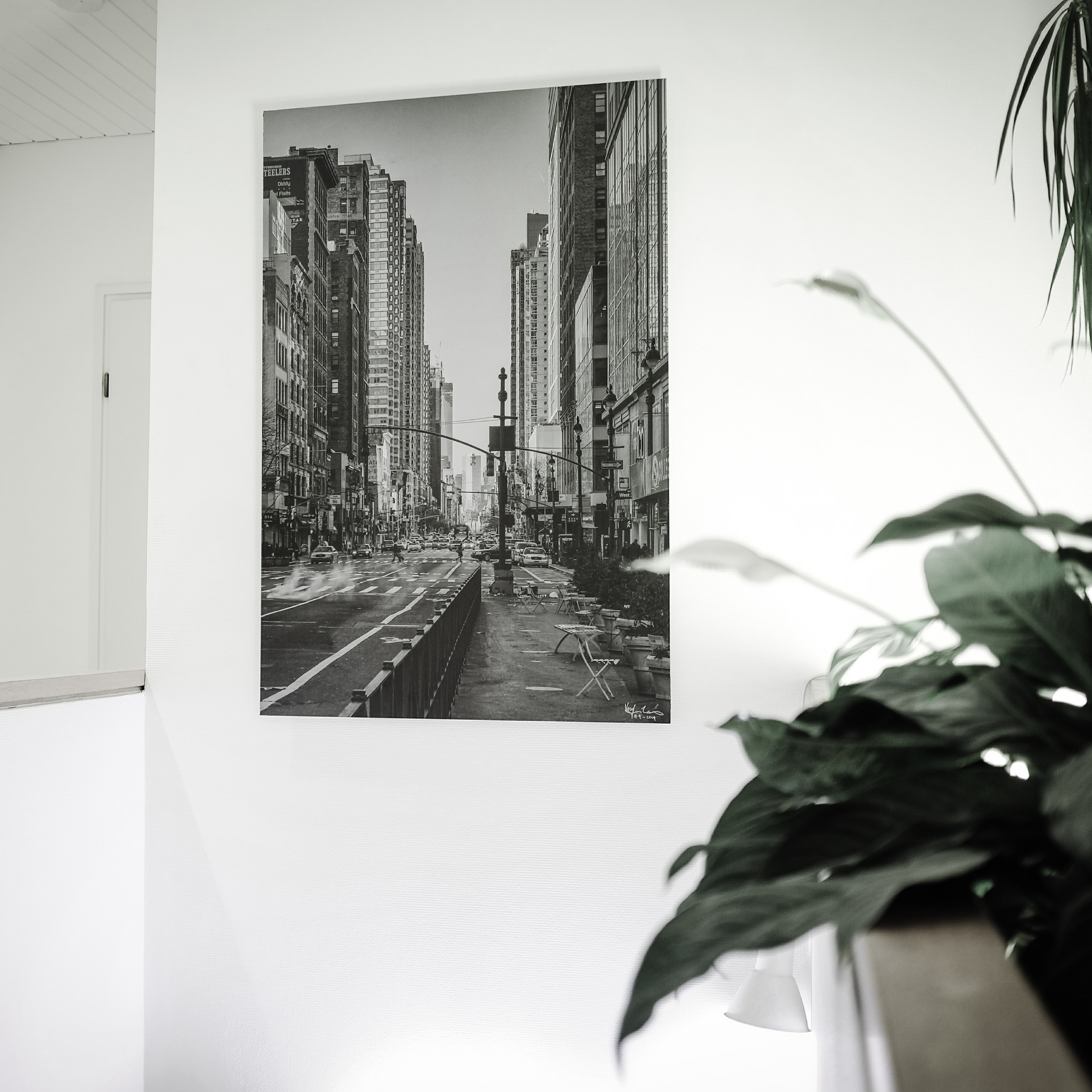 3rd Avenue , New York City, 2013  - Large 95 x 135 cm brushed aluminum black & white print on a staircase wall.