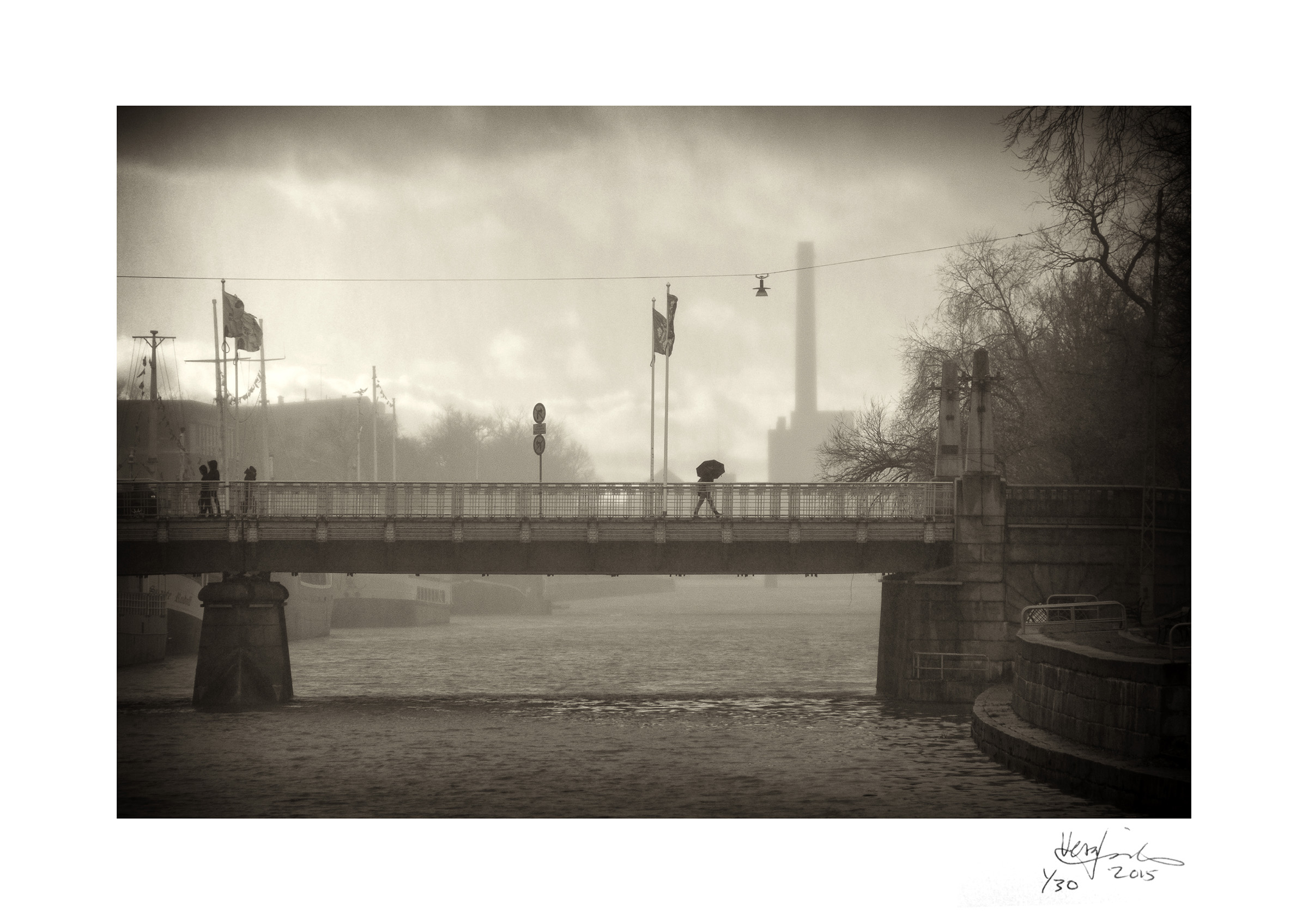 STORMY WEATHER   | The Aura River Bridge during a November storm | First edition print (1/30) on A4 size 300 gsm ICE SILVER white iridescent card with a silver sheen, signed and numbered.   FINE ART PRINT     AVAILABLE at TAIKO.FI online art gallery