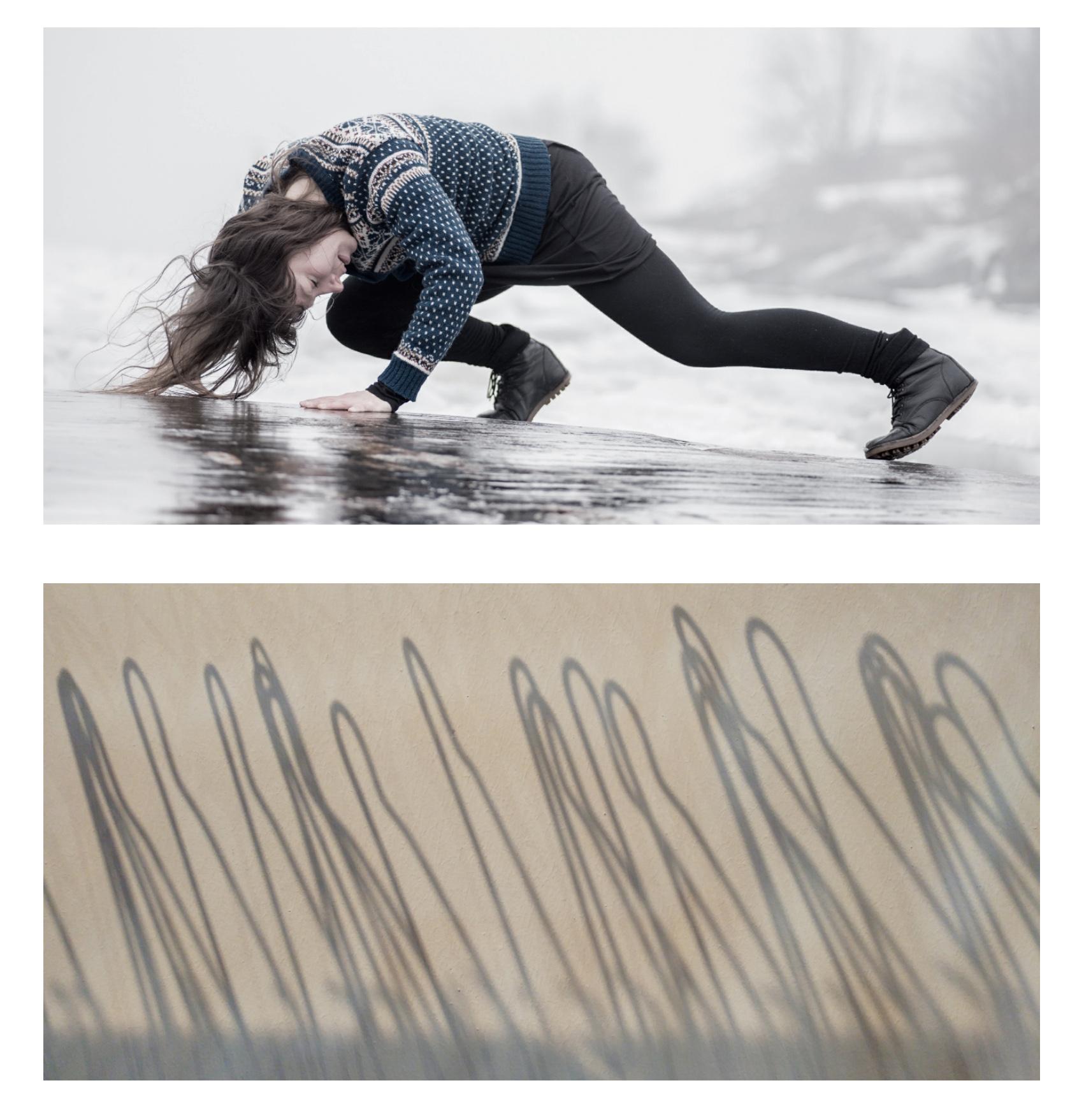 Photo 🅰:   SEA CHANGE SERIES     Uunisaari, Helsinki, Finland 2016 - dancer: Kristiina Turtiainen Photo 🅱:   HANGERS     The Place, London, UK - October 2016