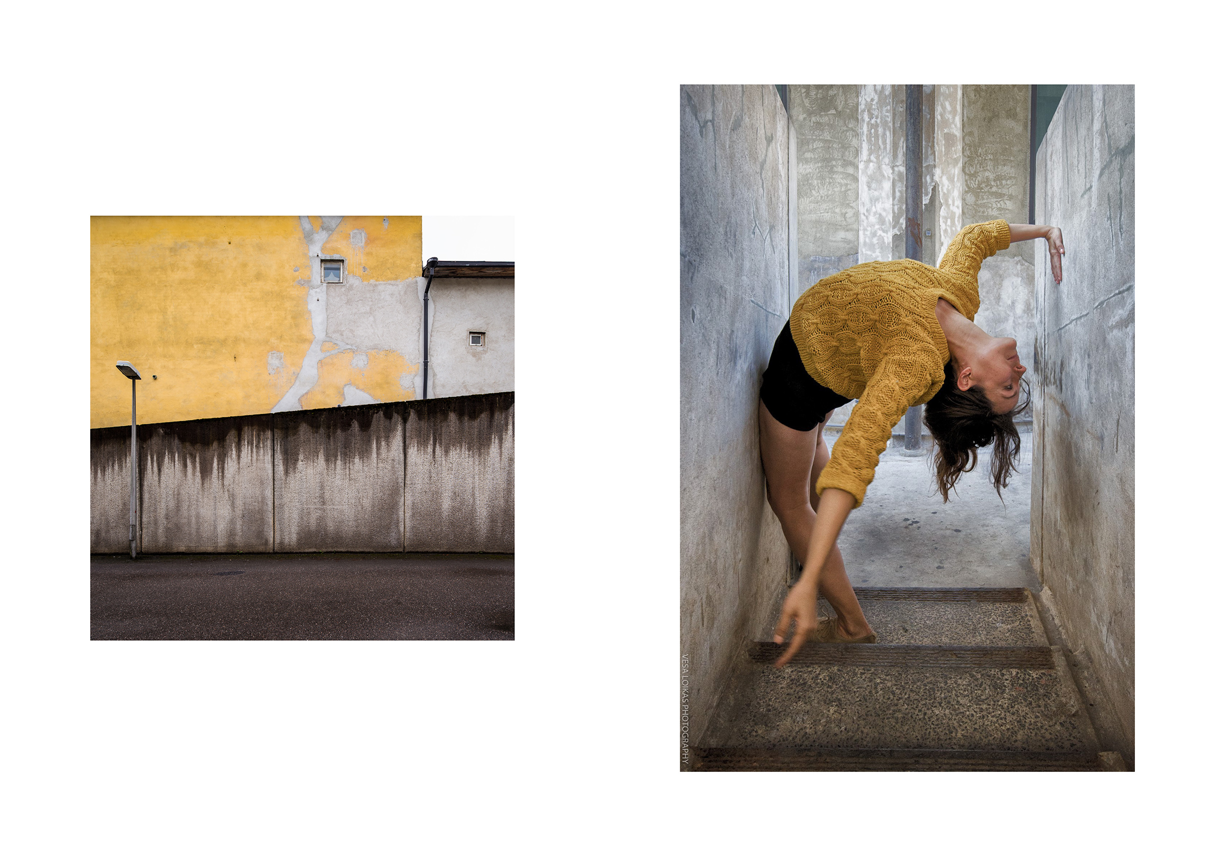 Photo 🅰:   YELLOWS & BROWNS |   Turku, Finland 2016 Photo 🅱:   CONCRETE DREAMS - ACT III   1933 Shanghai building(上海1933老场坊), Hongkou District, Shanghai, People's Republic of China | October 2014 | dancer: Anneliese Charek