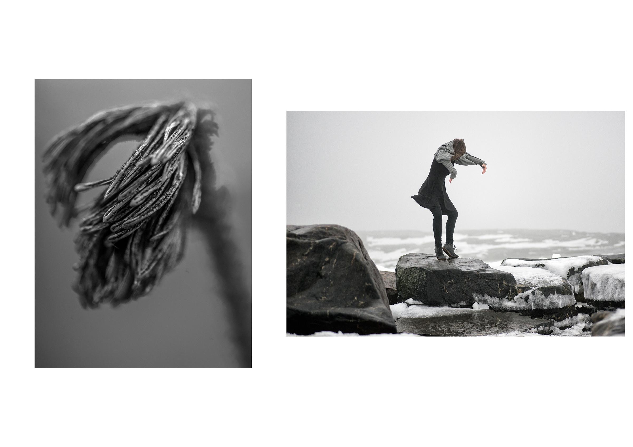 Photo 🅰:   CREATURES of the ARCHIPELAGO     Nauvo Archipelago, Baltic Sea - July 2016 Photo 🅱:   SEA CHANGE SERIES     Uunisaari, Helsinki, Finland 2016 - dancer: Kristiina Turtiainen