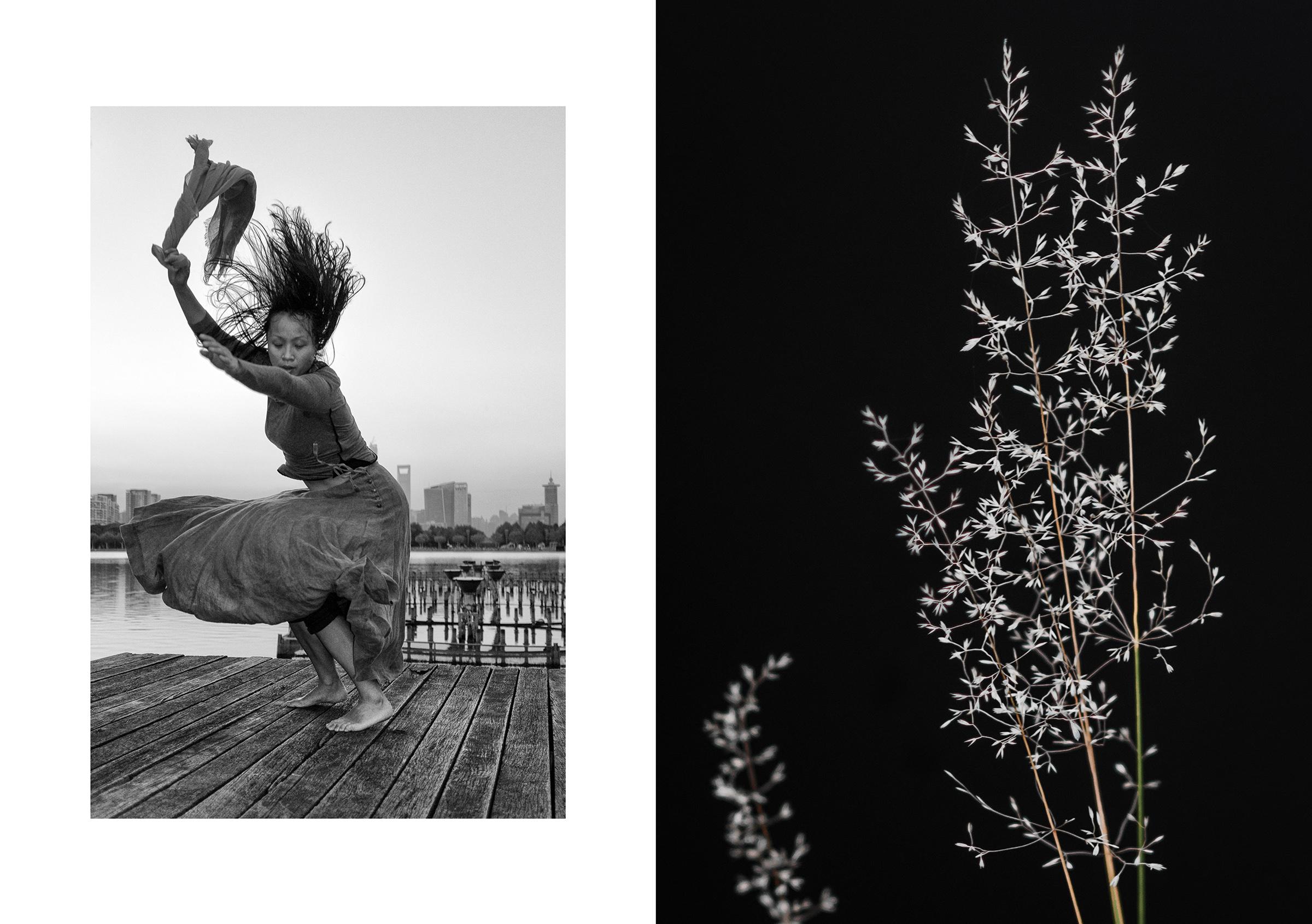 Photo 🅰:   SWEEP     Bright Lake, Century Park, Pudong, Shanghai, China   dancer: Yun Cheng   October 2014 Photo 🅱:   REEDS     The Aura River, Turku, Finland   October 2016