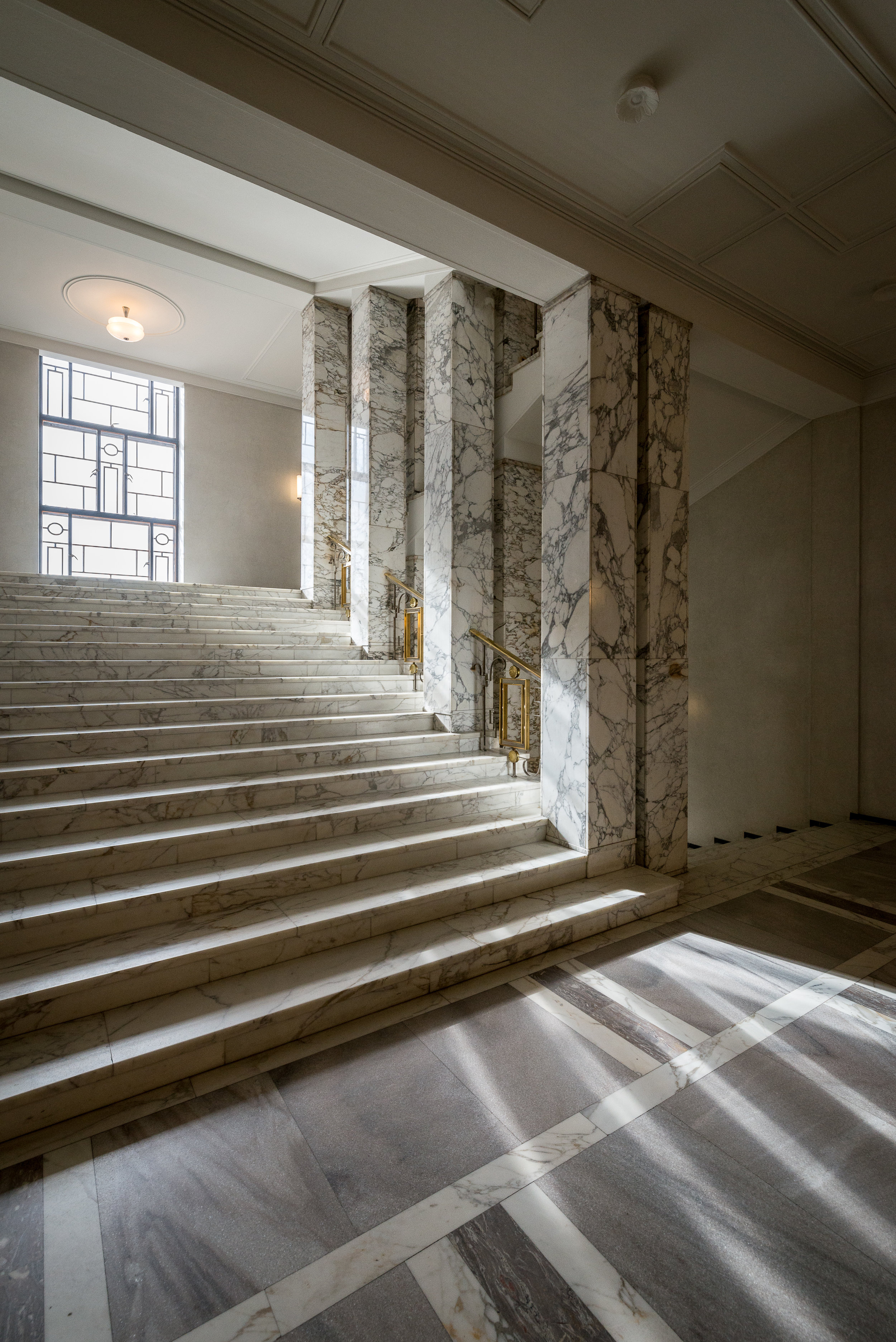 Ceiling detail in the decorative with marble and stucco lustro stair case