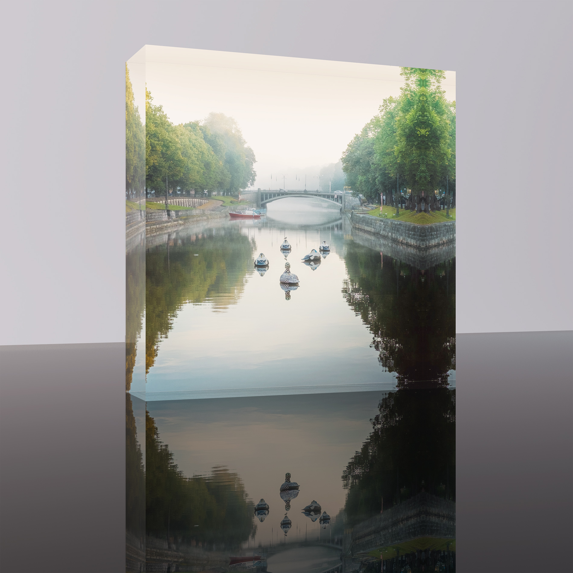 SEPTEMBER MORNING | AURA RIVER, TURKU, FINLAND Acrylic Block Size: 20 L x 20 K x 3 S [cm] #1/30