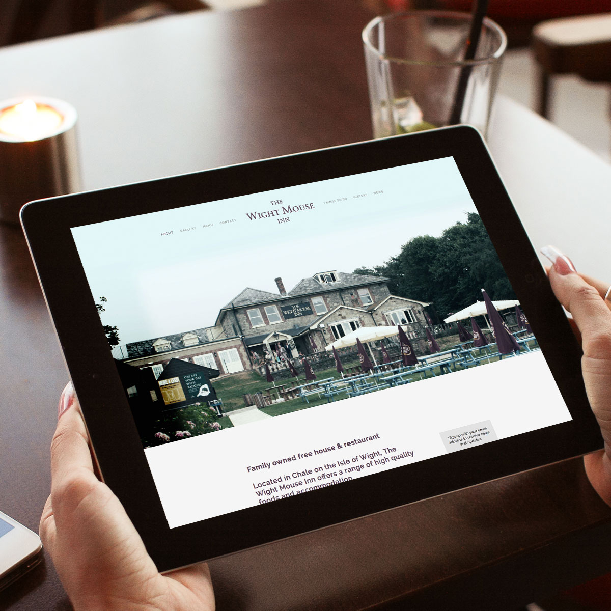 The Wight House Inn website Tablet Display