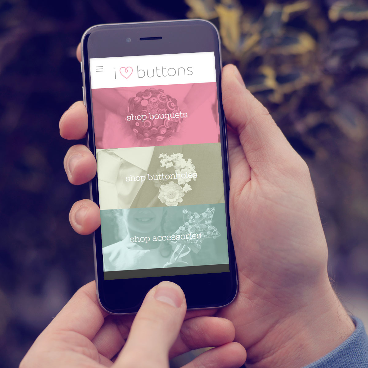 """iPhone mobile responsive """"I Hearts Buttons"""""""