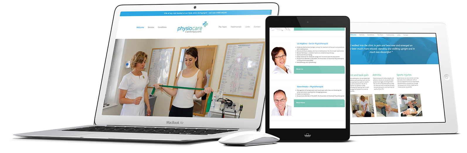 Physio Care mobile responsive website